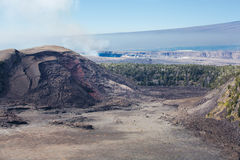 Volcano national park. View of the Kīlauea Iki crater next to the main summit caldera of Kīlauea.  Volcano national park  Hawaii Stock Image