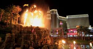 Volcano night fountain Las Vegas Strip resorts fast 4K