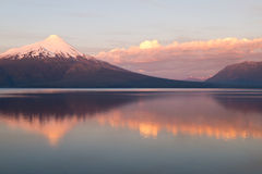 Volcano Osorno in Chile wit reflection in the lake Royalty Free Stock Photo