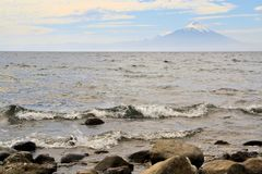 Volcano Osorno, lake Llanquihue, Patagonia, Chile Stock Images