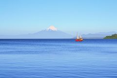 Volcano Osorno, lake Llanquihue, Patagonia, Chile Royalty Free Stock Images