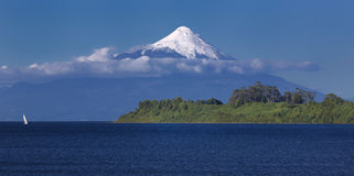 Volcano Osorno at Llanquihue Lake Chile royalty free stock photos