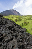 Volcano Pacaya. A smoking volcano pacaya and lava rocks, guatemala Stock Photo