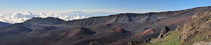 Volcano panoramic. Panoramic view of dormant volcano in hawaii Stock Images