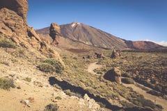 Volcano Pico del Teide, Nationalpark EL Teide, Teneriffa, Kanarienvogel Stockbilder
