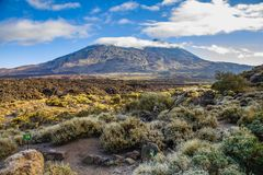 Volcano Pico del Teide is Spain`s highest mountain. Its height is approximately 7500 m, which is 3718 m above sea level. Tenerife, Canary Islands stock images