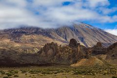 Volcano Pico del Teide is Spain`s highest mountain. Its height is approximately 7500 m, which is 3718 m above sea level. Tenerife, Canary Islands stock image