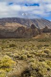 Volcano Pico del Teide is Spain`s highest mountain. Its height is approximately 7500 m, which is 3718 m above sea level. Tenerife, Canary Islands royalty free stock images