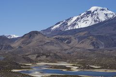 Volcano Pomerape in Lauca National Park. High on the Altiplano of northern Chile. In the foreground lakes known as Lagunas de Cotacani Stock Photos