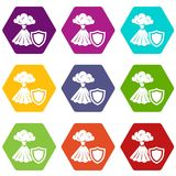 Volcano protection icons set 9 vector. Volcano protection icons 9 set coloful isolated on white for web Stock Images