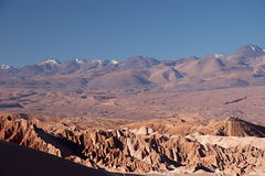 Volcano range in Atacama Desert, Chile. The Atacama Desert is a volcanic plateau in Chile (South America) west of the Andes mountains. It is the driest desert in Royalty Free Stock Photo