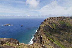 Volcano Rano Kau em Rapa Nui, Ilha de Páscoa Fotos de Stock Royalty Free