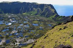 Volcano Rano Kau/ Rano Kao, the largest volcano crater in Rapa Nui Easter Island. Rano Kau, also known as Rano Kao, has a crater lake which is one of the island` Stock Images