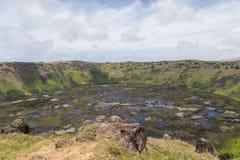Volcano Rano Kau op Rapa Nui, Pasen-Eiland Stock Foto