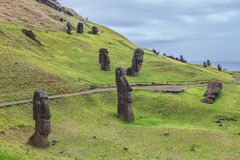 Volcano and Rano Raraku quarry, where most of the moai of Easter royalty free stock photography