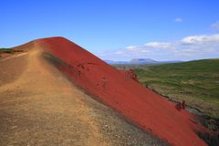 The volcano Raudholar. The summit of the volcano red Raudholar Royalty Free Stock Photos