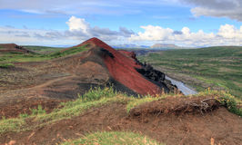 The volcano Raudholar. The summit of the volcano red Raudholar. Iceland Stock Image