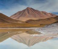 Volcano reflection at Pierdras Rojas. Atacama desert, Chile Stock Photos