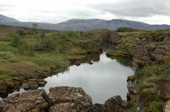 Volcano rift at Thingvellir National Park, Iceland Royalty Free Stock Photos