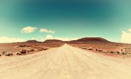 Volcano road on réunion island, indian ocean. Royalty Free Stock Image