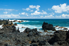 Volcano rocks on beach at Hana on Maui Hawaii Royalty Free Stock Photos