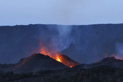Volcano's eruption. Eruption of Piton de la Fournaise, Reunion island national parc, october 2010 Royalty Free Stock Image