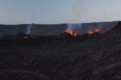 Volcano's eruption. Eruption of Piton de la Fournaise, Reunion island national parc, october 2010 Royalty Free Stock Photo