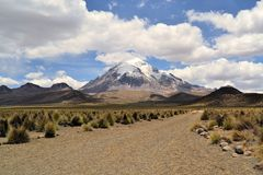 Volcano in Sajama National Park, Andes, Bolivia Royalty Free Stock Photo