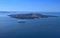 The volcano of Santorini island in Greece Stock Photo