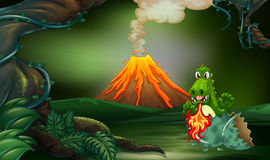 Volcano scene with dragon blowing fire. Illustration Royalty Free Stock Photo