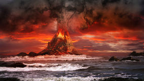 Volcano on the sea Stock Images
