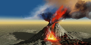 Volcano Smoke. An active volcano belches smoke and molten red lava in an eruption Royalty Free Stock Photos