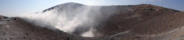Volcano with smoke Stock Photo