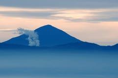 Parahyangan mountains. Volcano smoke at Parahyangan or Preanger mountains near Bandung, Indonesia Royalty Free Stock Photo