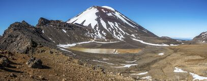 Volcano with snow and muddy pond in a valley
