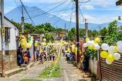 Volcano & St John's Day procession, Guatemala Royalty Free Stock Photos