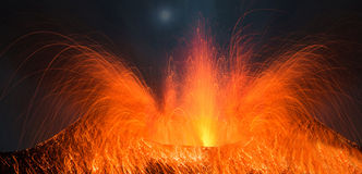 Volcano Stromboli with big eruption Royalty Free Stock Images