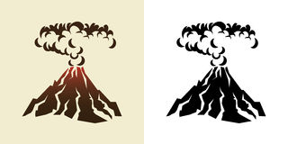 Volcano. Stylized illustration of a volcanic eruption with black clouds of smoke Stock Photo