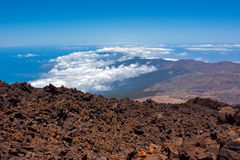 Volcano summit above the clouds Royalty Free Stock Photography