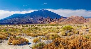 Volcano Teide with Llano de Ucanca.Desert panorama stock photography
