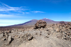 Volcano Teide Tenerife Island Spain with lava rock on foreground Royalty Free Stock Image