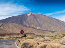 Volcano Teide, Tenerife, Spain, with stop sign Stock Photography
