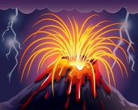 Volcano on thunderstorms night stock illustration