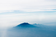 Volcano top under sky, bird's eye view. Royalty Free Stock Photography