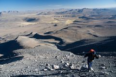 Volcano Ubinas. Climber below the summit of the volcano Ubinas at the Altiplano in South Peru Royalty Free Stock Image