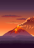 Volcano. Vector illustration of a volcano erupting Royalty Free Stock Photography