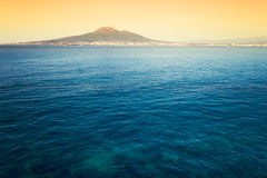 Volcano Vesuvius and Bay of Naples. Castellammare di Stabia with the Gulf of Naples. Composition with multiple photographs of the Gulf of Naples and Mount Royalty Free Stock Image