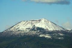 Volcano Vesuvius with snow. From view Sorrento peninsula, Italy stock photos