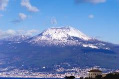 Volcano Vesuvius with snow. From view Sorrento peninsula, Italy stock photography