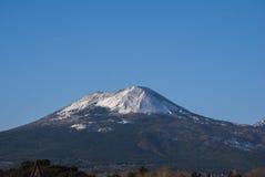 Volcano Vesuvius with snow. From view Sorrento peninsula, Italy stock photo